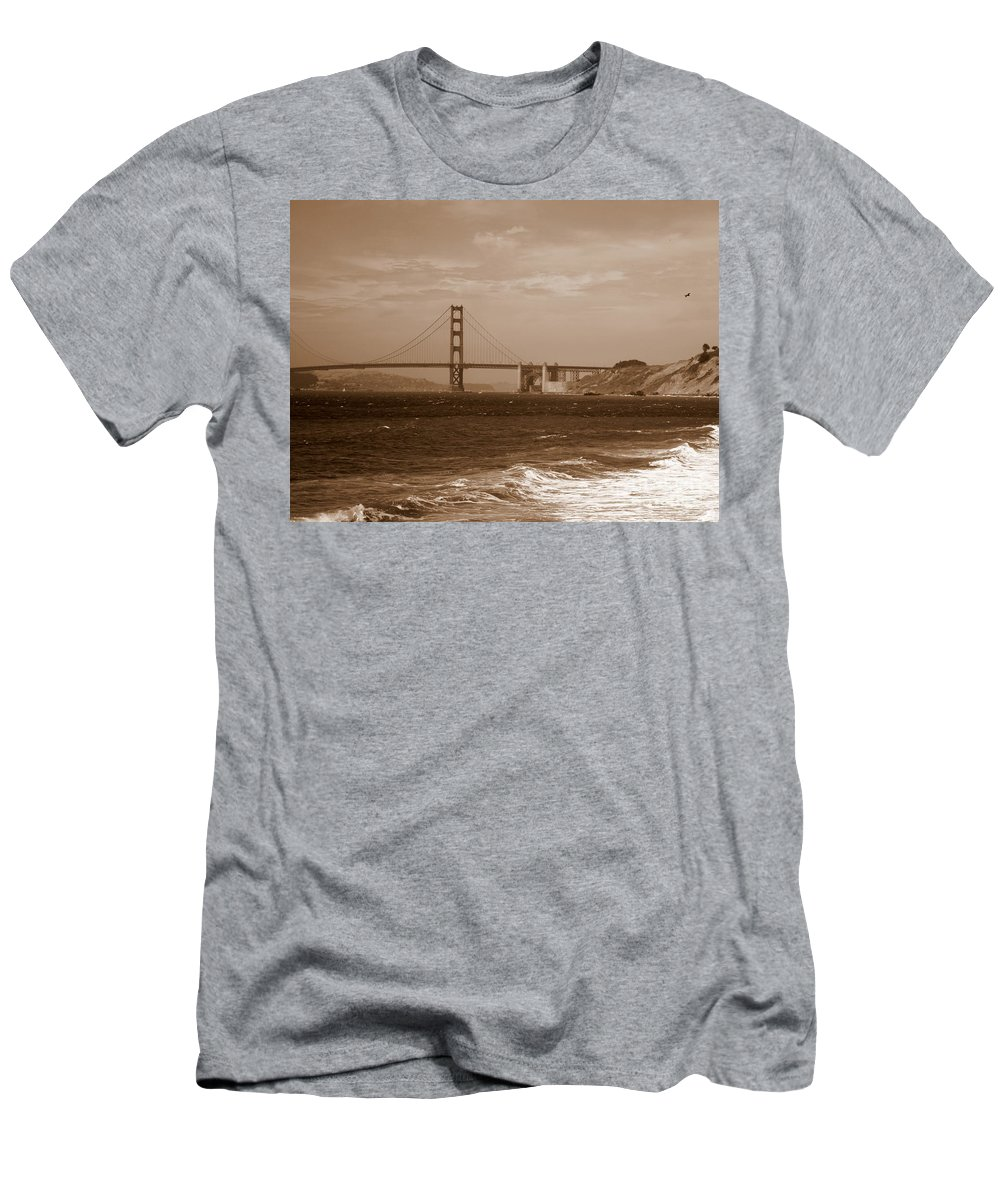 Golden Gate Bridge Men's T-Shirt (Athletic Fit) featuring the photograph Golden Gate Bridge With Surf Sepia by Carol Groenen