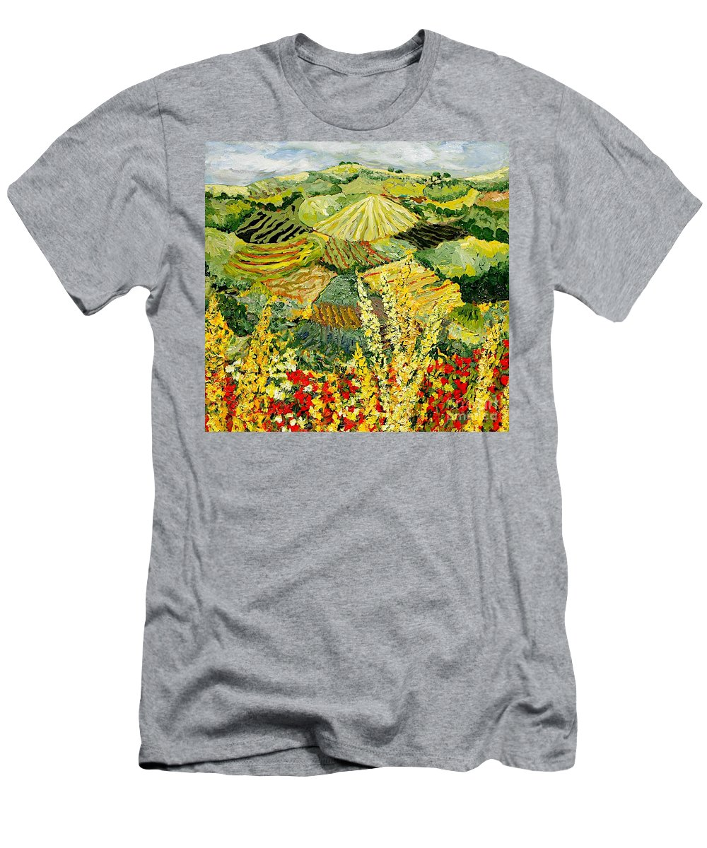 Landscape Men's T-Shirt (Athletic Fit) featuring the painting Golden Hedge by Allan P Friedlander