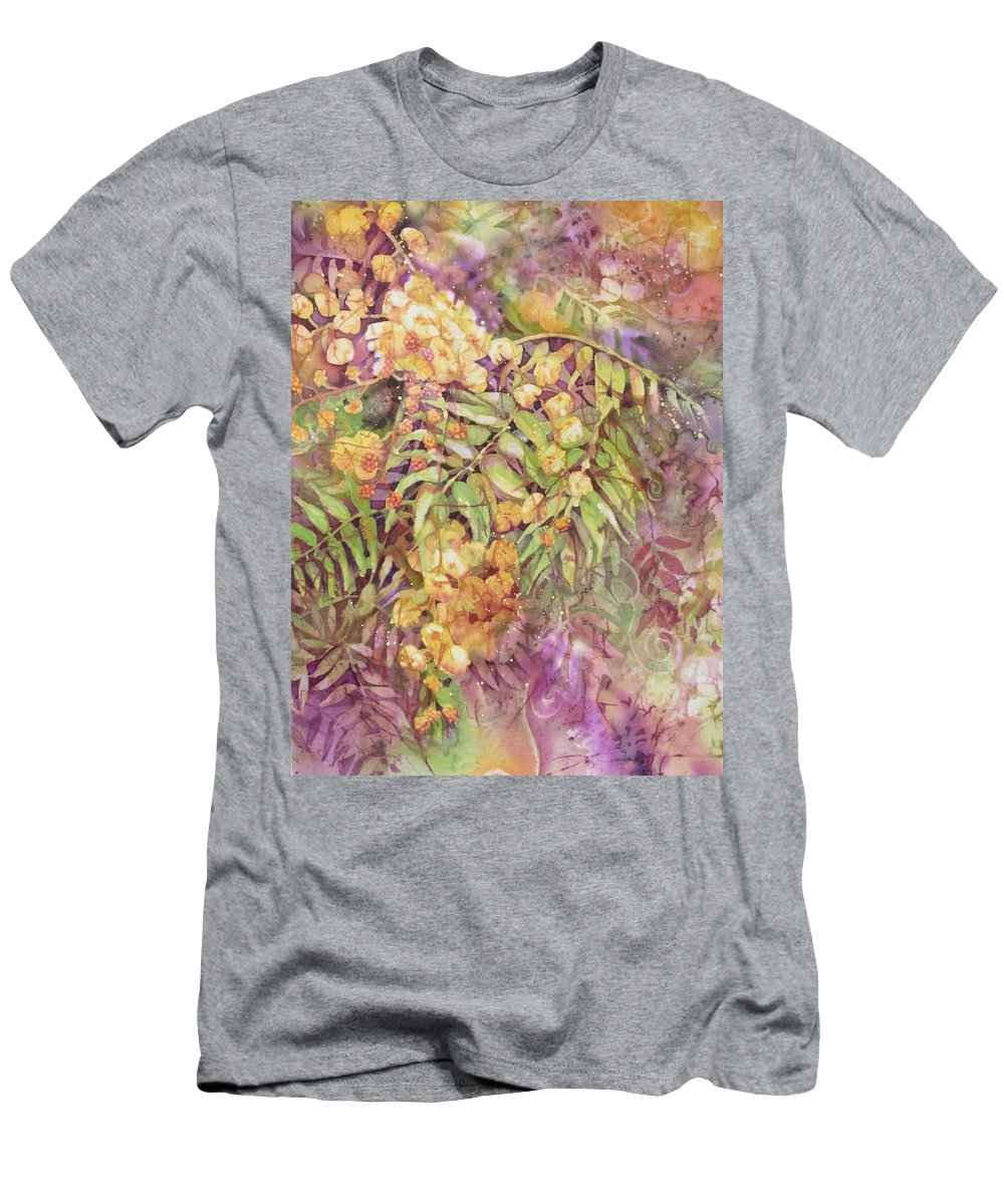 Flower Men's T-Shirt (Athletic Fit) featuring the painting Golden Wattle by Deborah Younglao