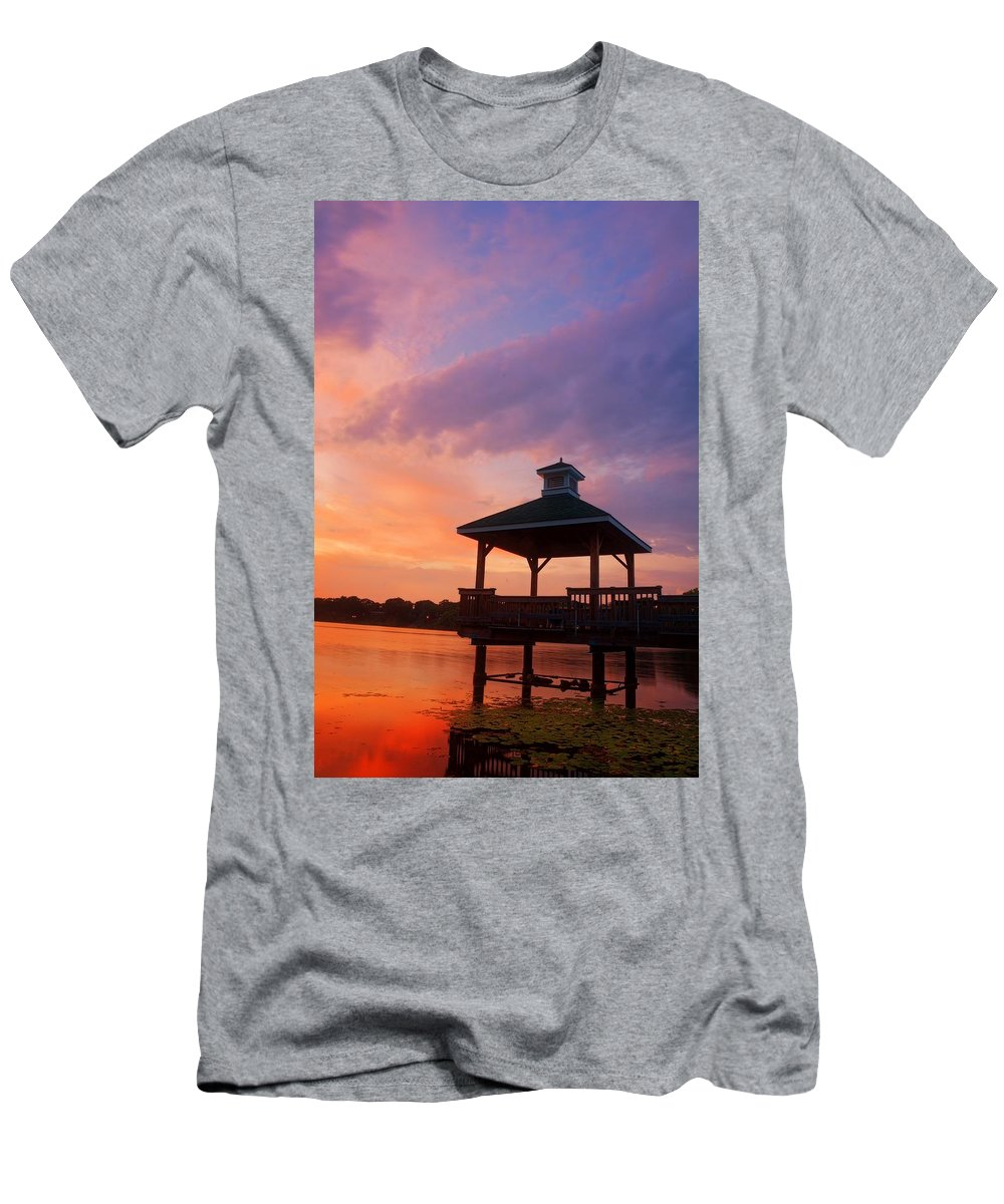 Gorton Pond Sunset Men's T-Shirt (Athletic Fit) featuring the photograph Gorton Pond Beauty Warwick Rhode Island by Lourry Legarde