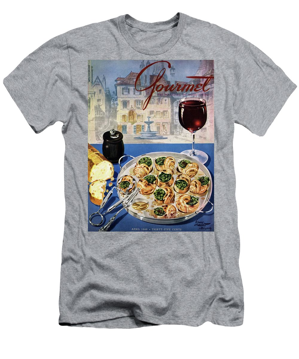 Food Men's T-Shirt (Athletic Fit) featuring the photograph Gourmet Cover Illustration Of A Platter by Henry Stahlhut