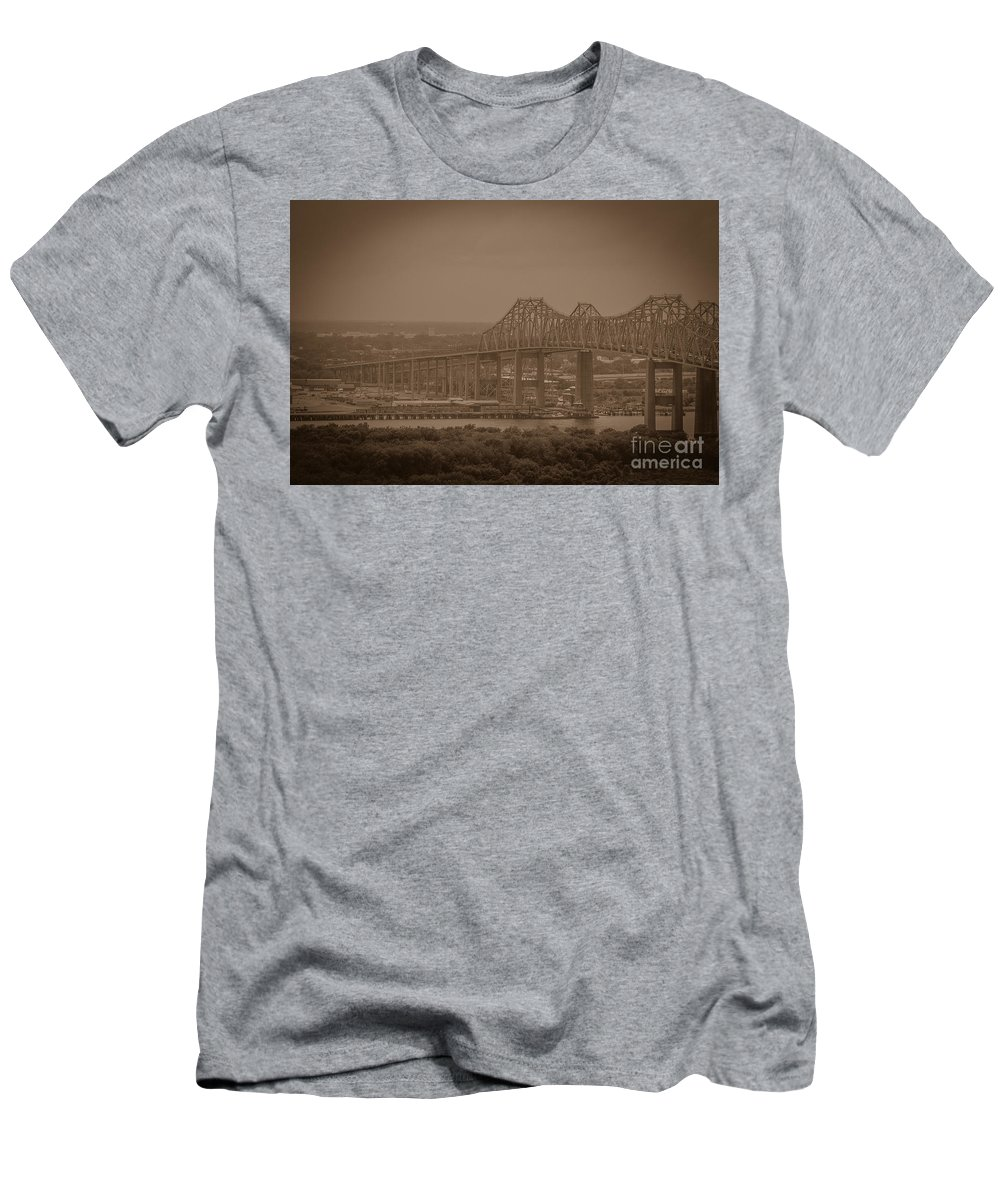 Grace And Pearman Bridges Men's T-Shirt (Athletic Fit) featuring the photograph Grace And Pearman Bridges by Dale Powell