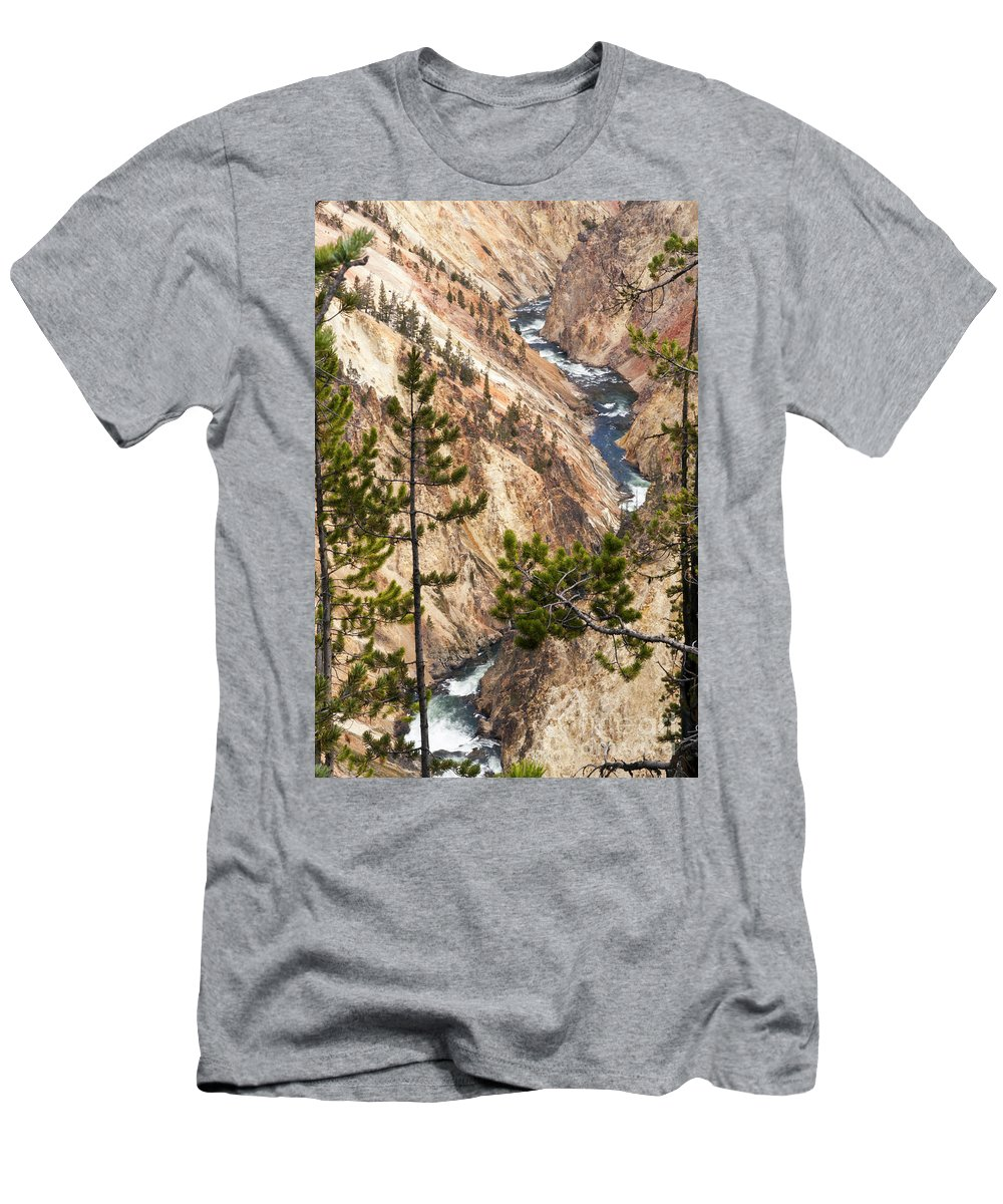Yellowstone Grand Canyon Men's T-Shirt (Athletic Fit) featuring the photograph Grand Canyon Of Yellowstone by Bob Phillips
