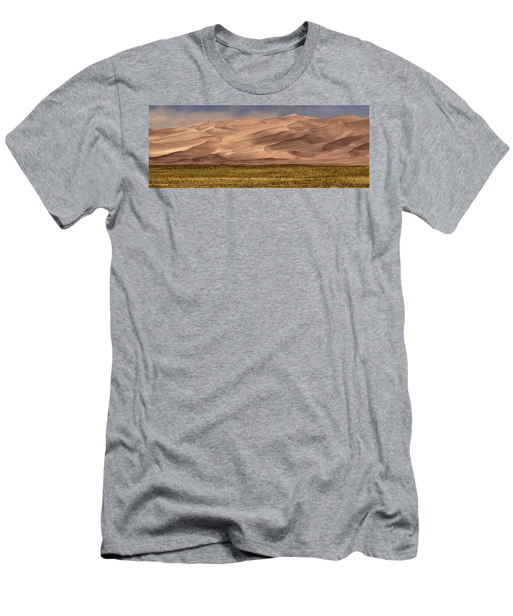 Great Sand Dunes In Colorado Men's T-Shirt (Athletic Fit) featuring the photograph Great Sand Dunes In Colorado by Dan Sproul