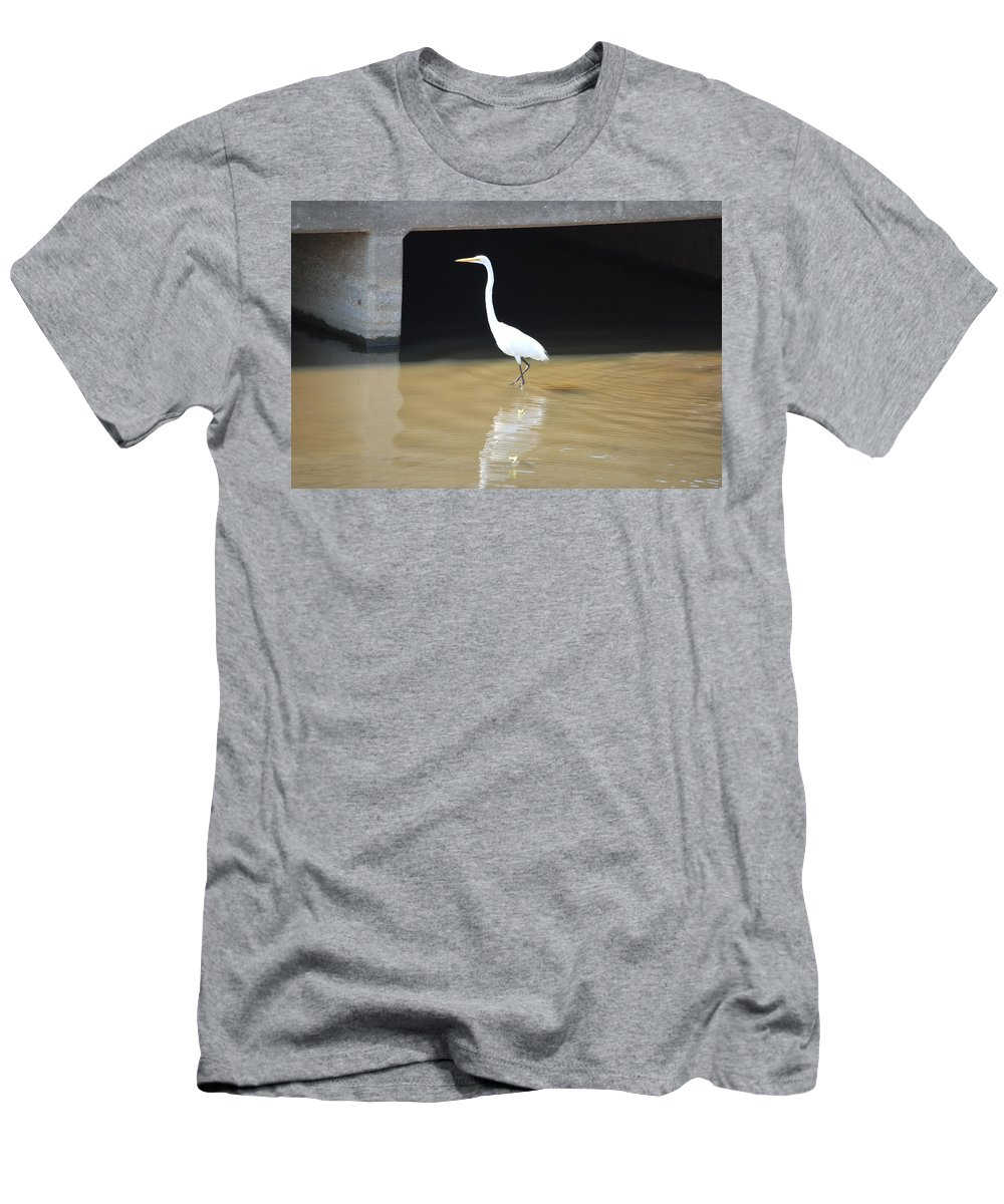 Fishing The Bridge Men's T-Shirt (Athletic Fit) featuring the photograph Great White Heron by Robert Floyd