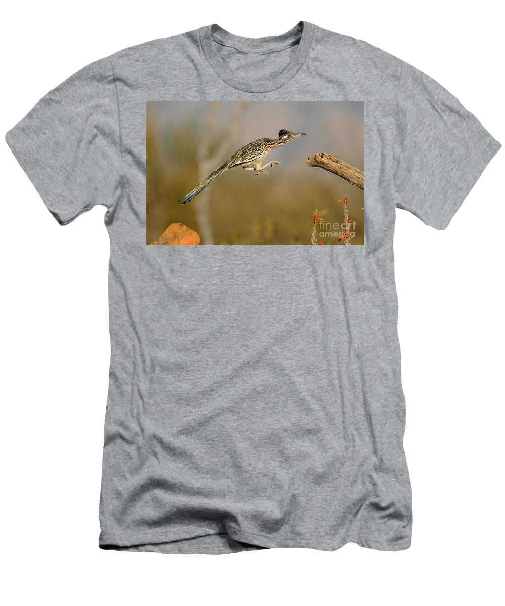 Animal Men's T-Shirt (Athletic Fit) featuring the photograph Greater Roadrunner Leaping by Scott Linstead
