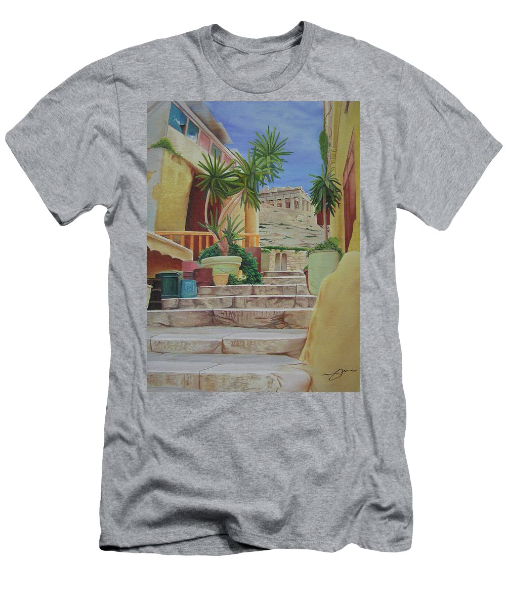 Greece Men's T-Shirt (Athletic Fit) featuring the painting Greece by Joshua Morton