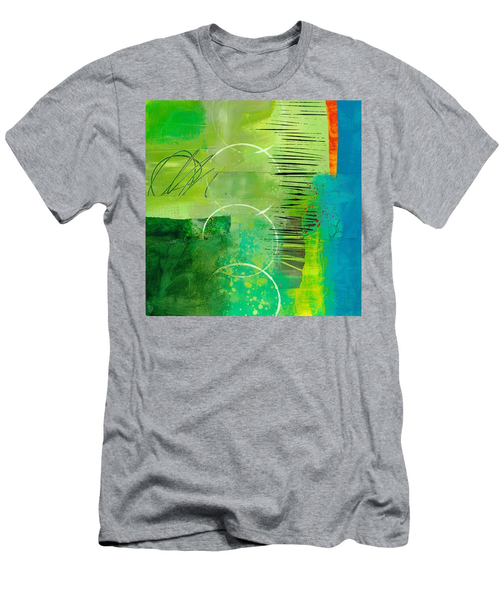 Acrylic T-Shirt featuring the painting Green and Red 5 by Jane Davies