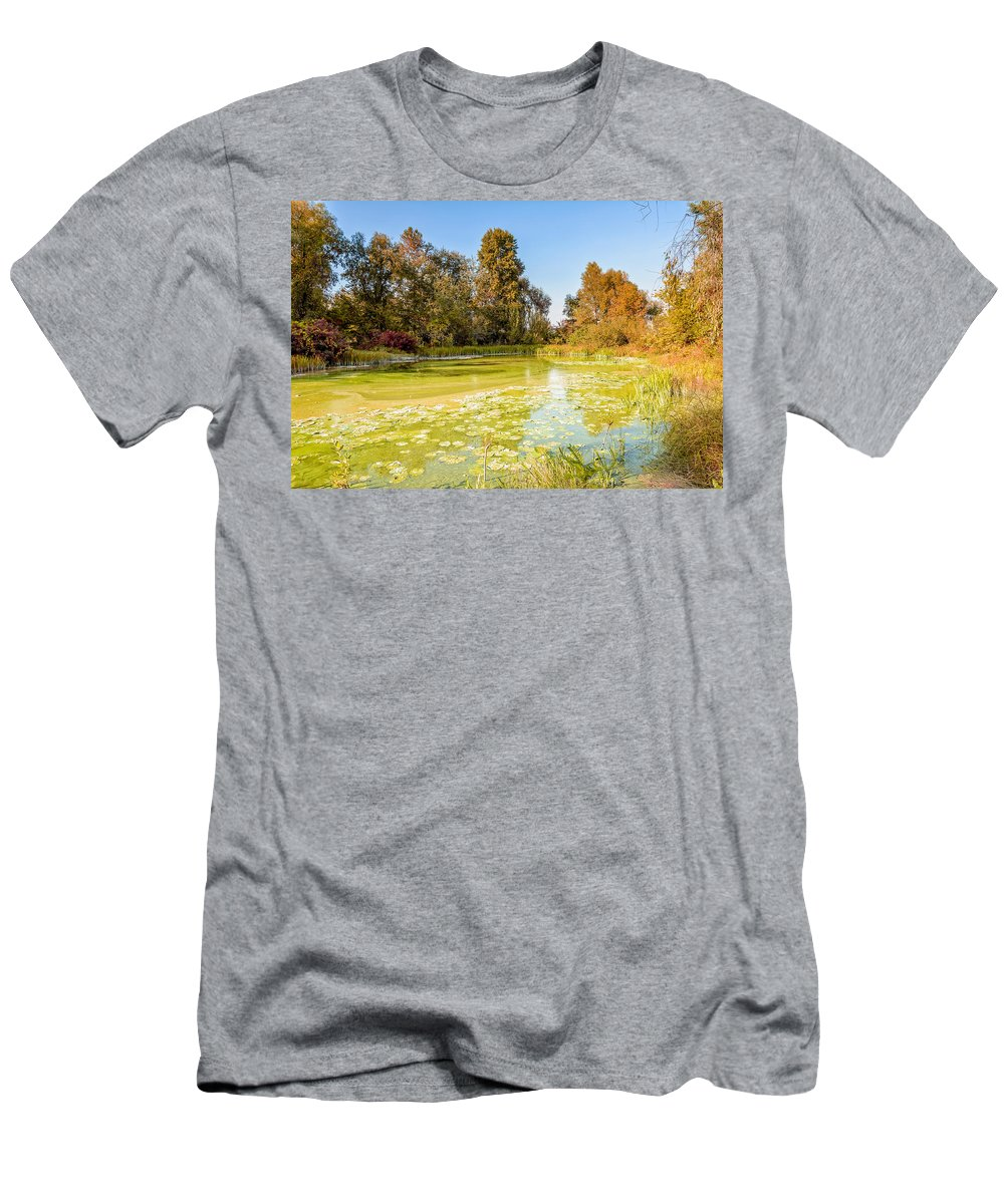 Dnieper Men's T-Shirt (Athletic Fit) featuring the photograph Green Pond And Tree by Alain De Maximy