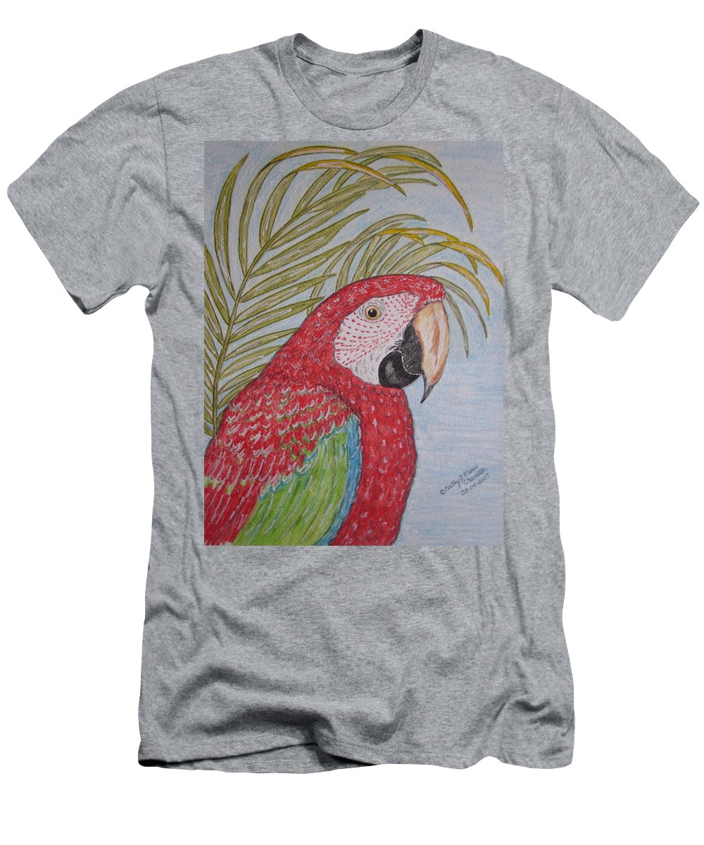 Green Wing Macaw Men's T-Shirt (Athletic Fit) featuring the painting Green Winged Macaw by Kathy Marrs Chandler