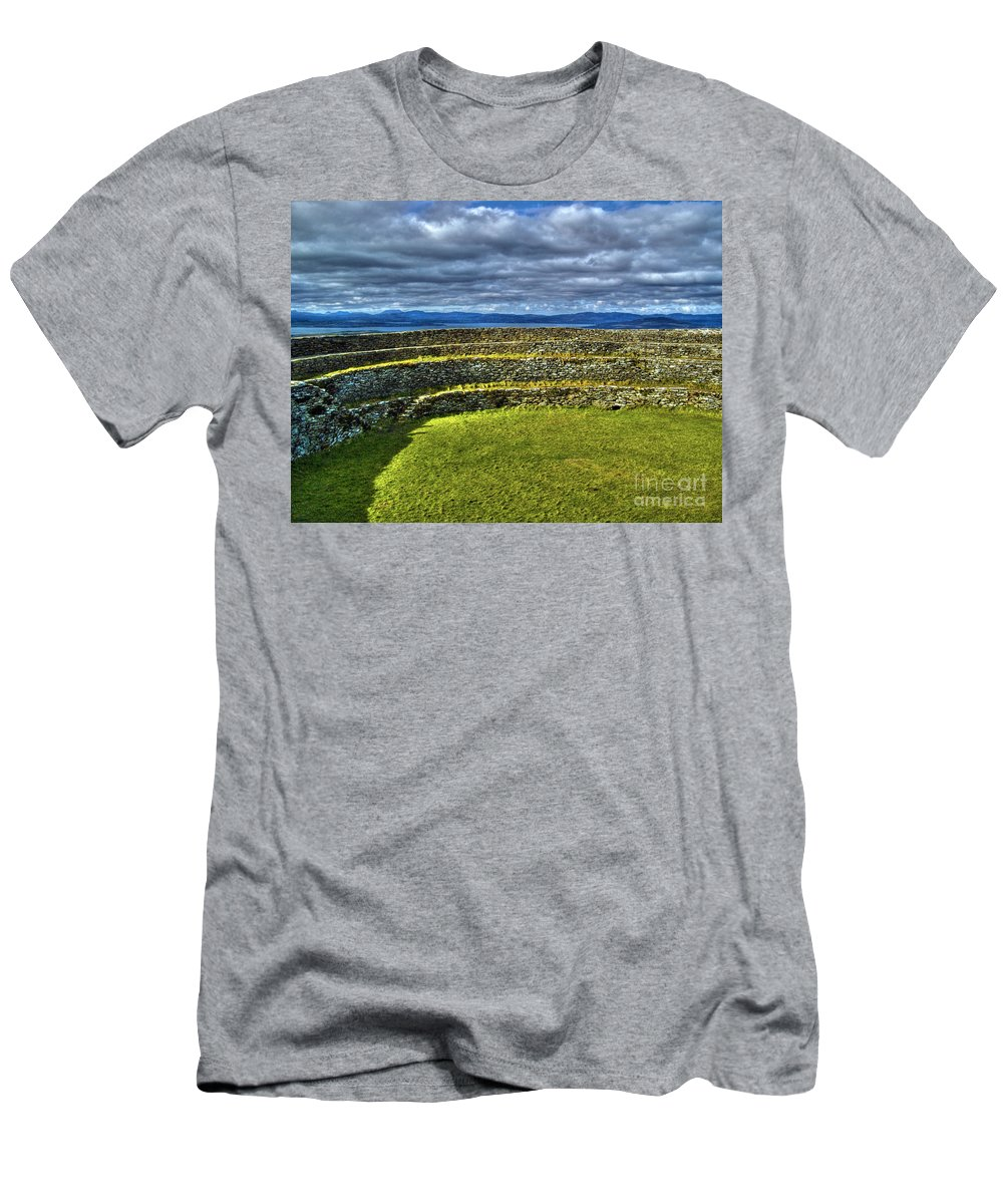 Grianan Of Aileach Men's T-Shirt (Athletic Fit) featuring the photograph Grianan Of Aileach Fort by Nina Ficur Feenan