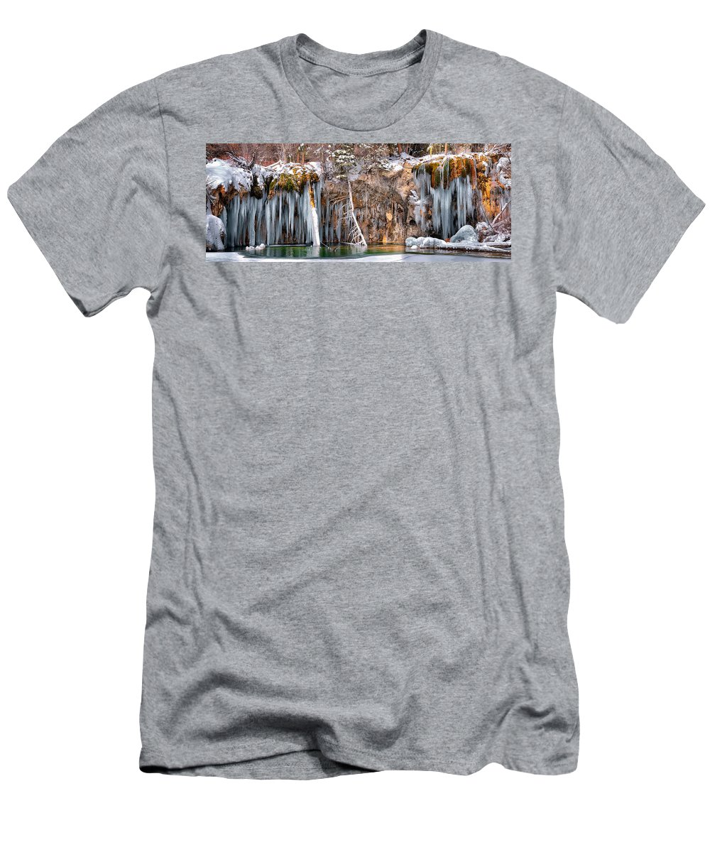Hanging Lake Tunnel Men's T-Shirt (Athletic Fit) featuring the photograph Hanging Lake by OLena Art Brand