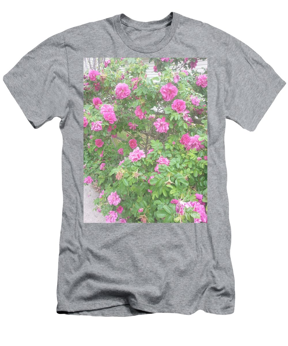 Hansa Roses Men's T-Shirt (Athletic Fit) featuring the photograph Hansa Roses by Alys Caviness-Gober