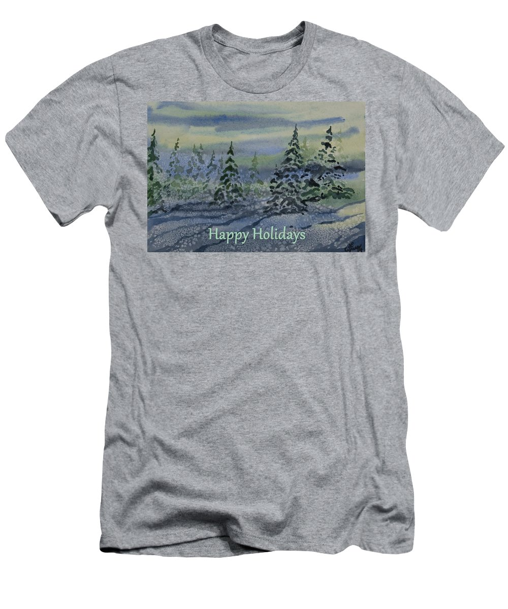 Happy Holidays Men's T-Shirt (Athletic Fit) featuring the painting Happy Holidays - Snowy Winter Evening by Cascade Colors
