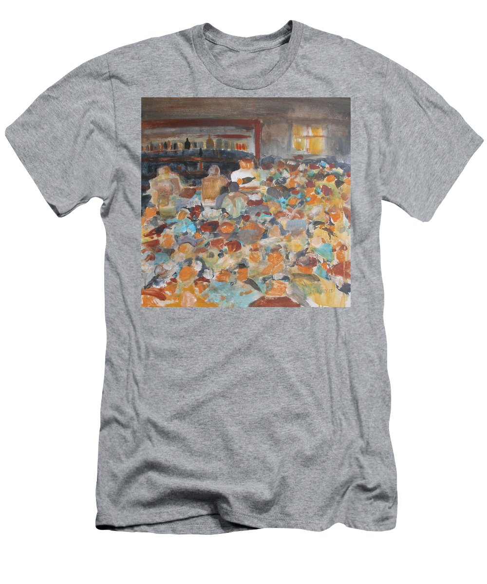 Bar Men's T-Shirt (Athletic Fit) featuring the painting Happy Hour by Rhodes Rumsey