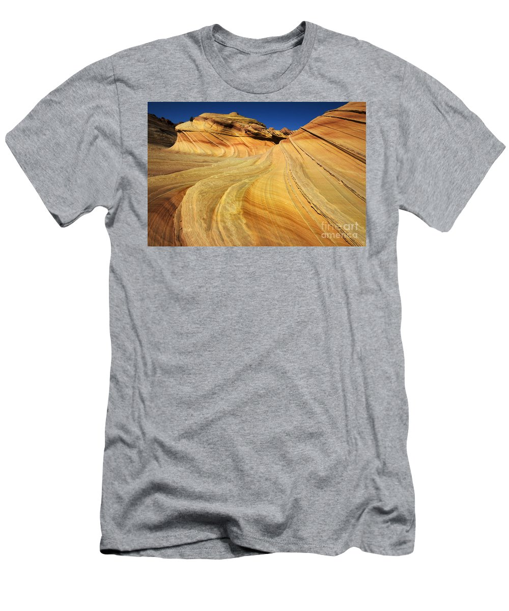 The Second Wave Men's T-Shirt (Athletic Fit) featuring the photograph Harmony Of Stone And Light 1 by Bob Christopher