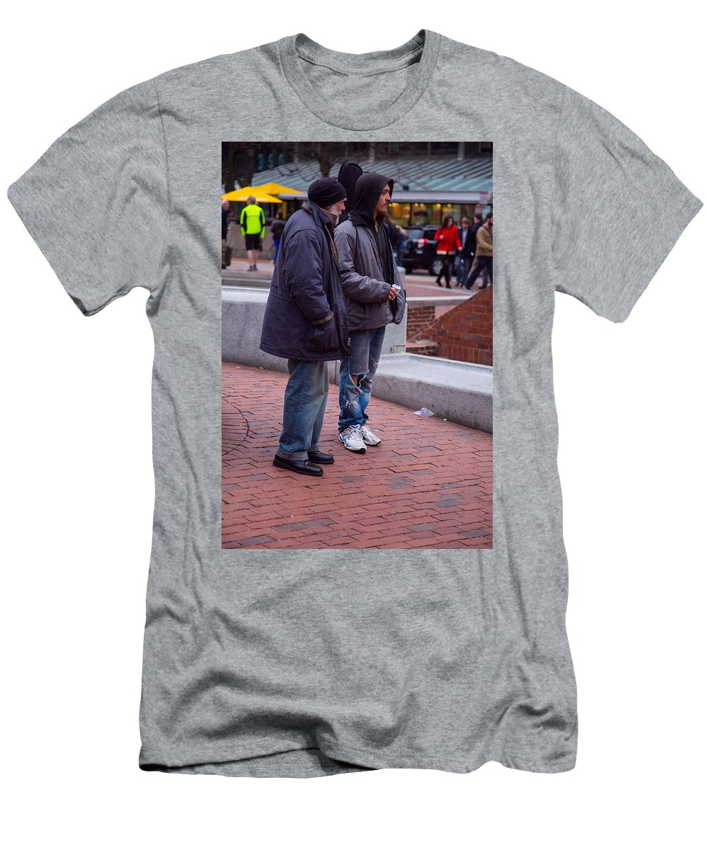 Harvard Square Men's T-Shirt (Athletic Fit) featuring the photograph Harvard Watchers by Allan Morrison