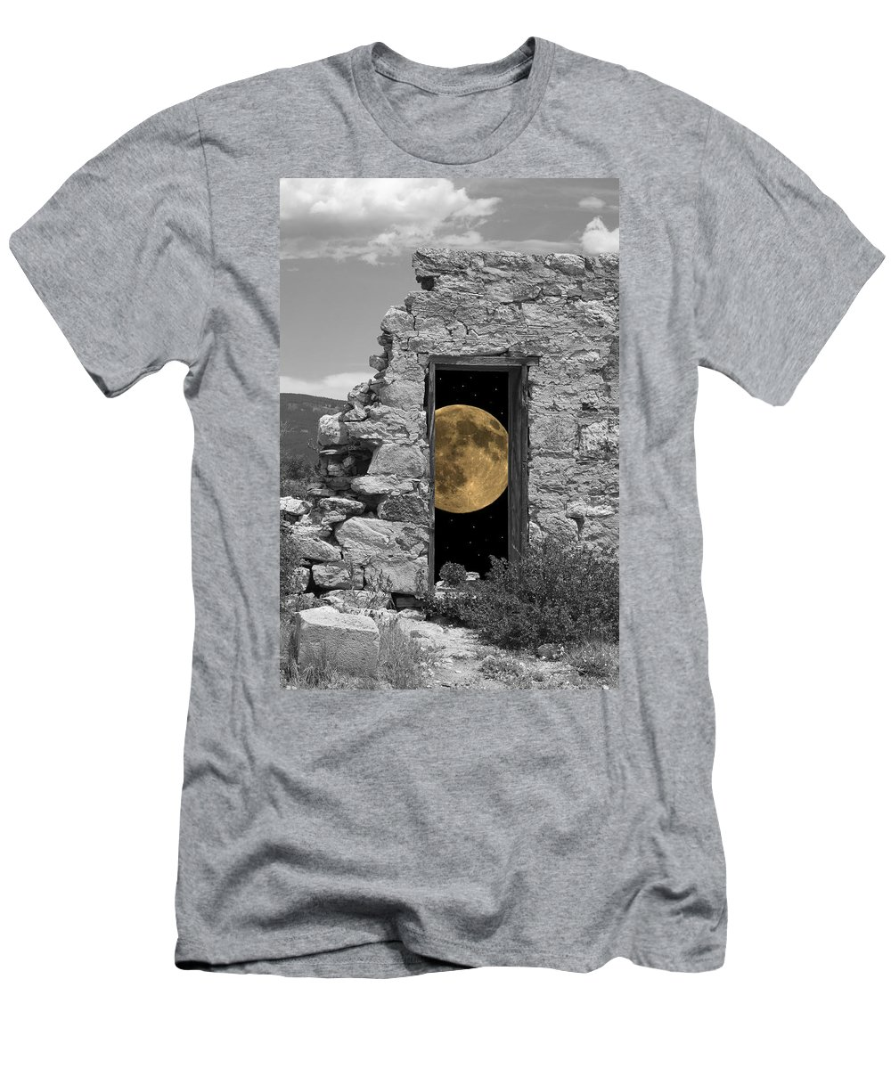 Montages Men's T-Shirt (Athletic Fit) featuring the photograph Harvest Moon Through The Magic Door by Greg Wells