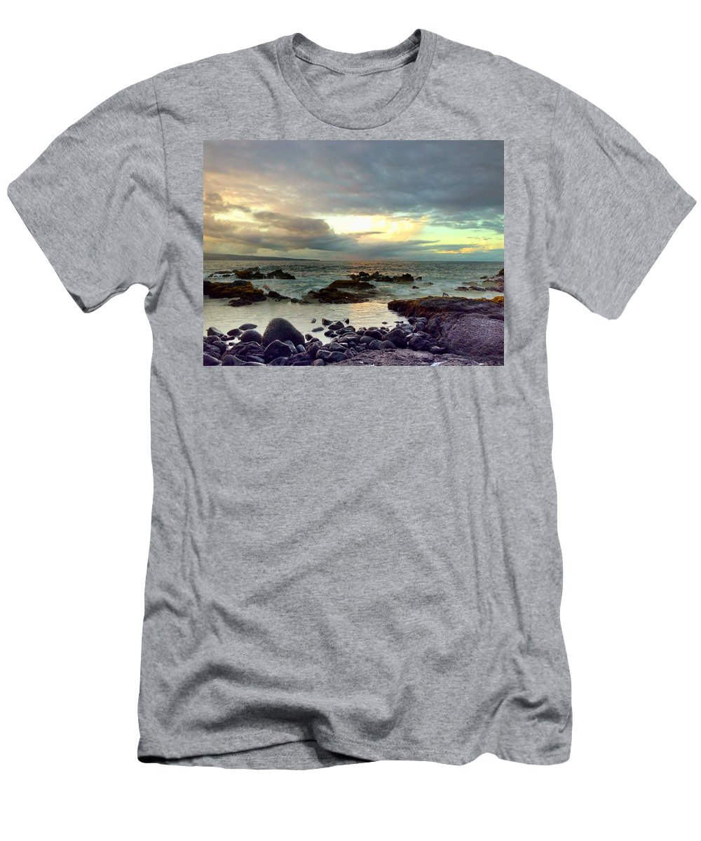 Hawaiiana Men's T-Shirt (Athletic Fit) featuring the digital art Hawaiian Landscape 13 by D Preble