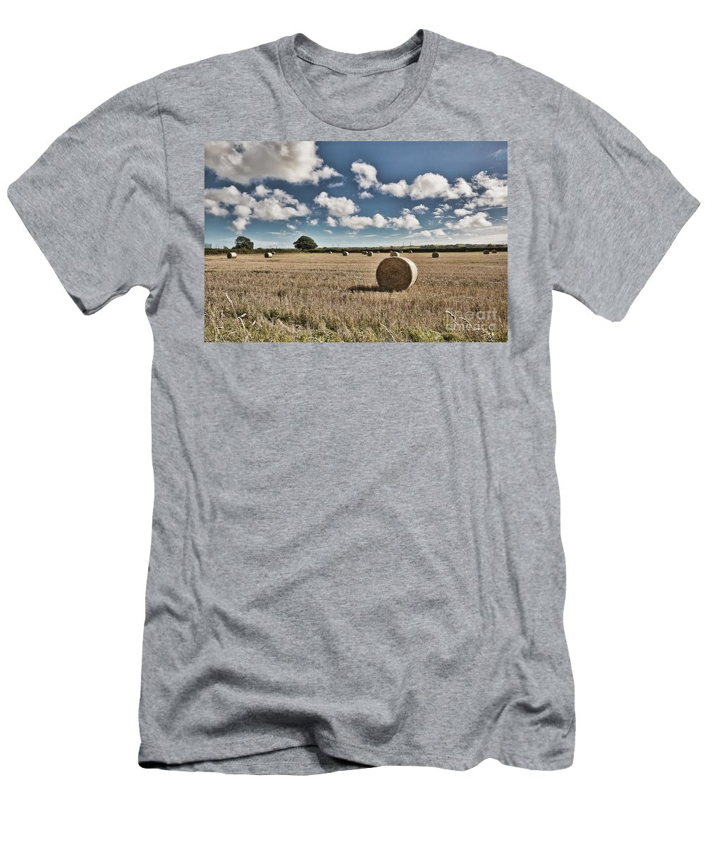 Hay Bales Men's T-Shirt (Athletic Fit) featuring the photograph Hay Bales 1 by Steve Purnell