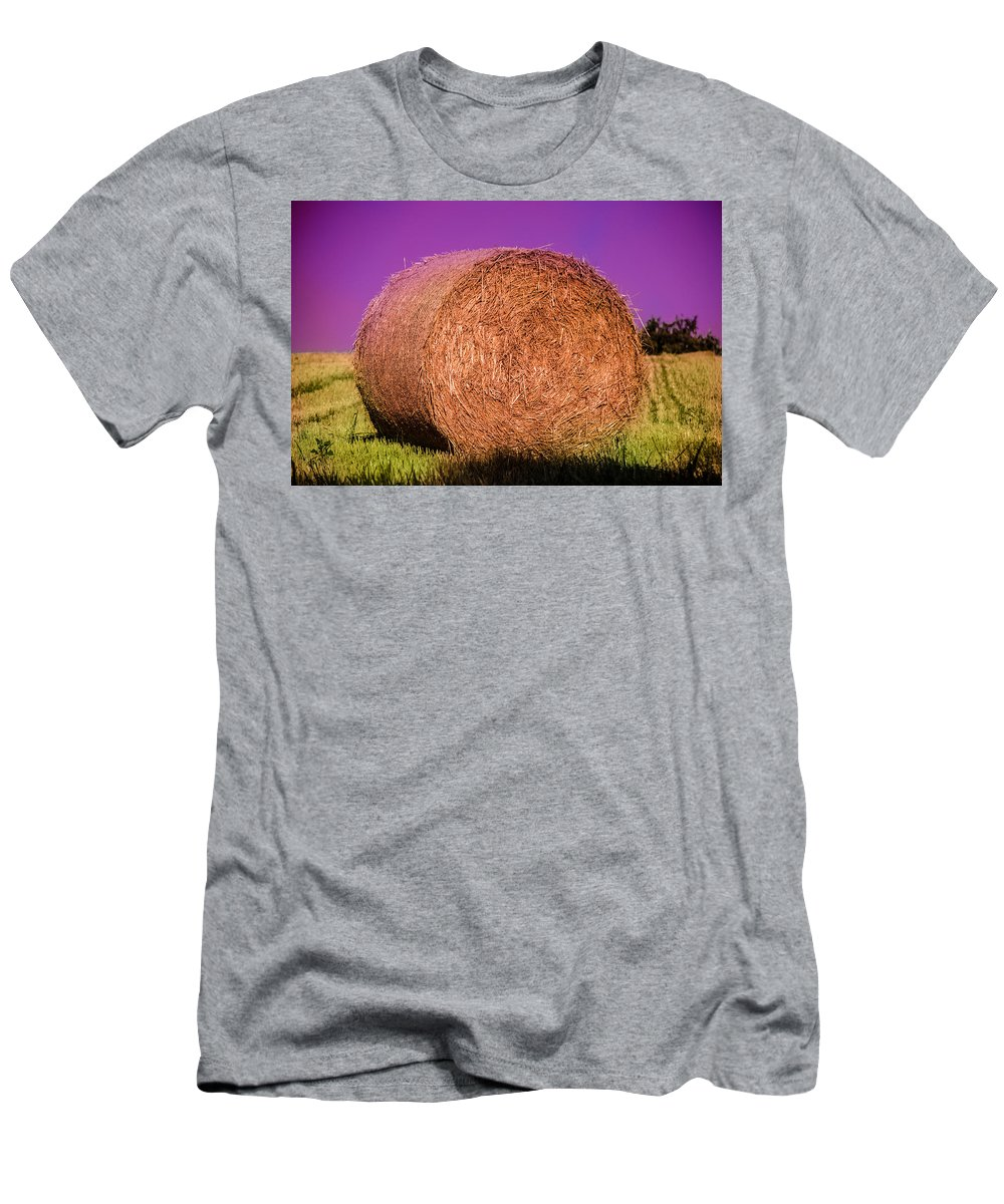 Wheat Men's T-Shirt (Athletic Fit) featuring the photograph Hay Roll by Dany Lison