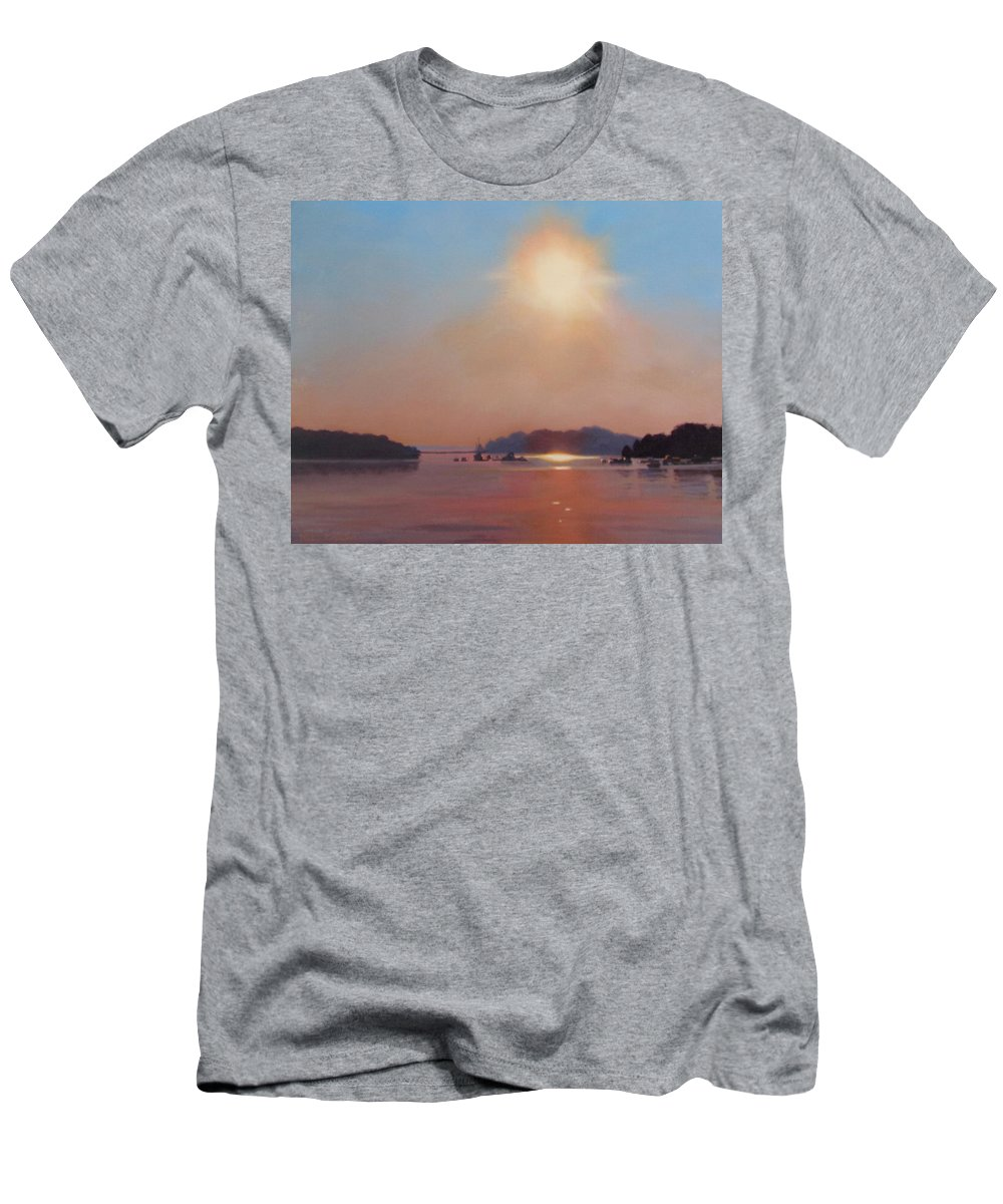 Hull Men's T-Shirt (Athletic Fit) featuring the painting Hazy Hot And Humid by Dianne Panarelli Miller
