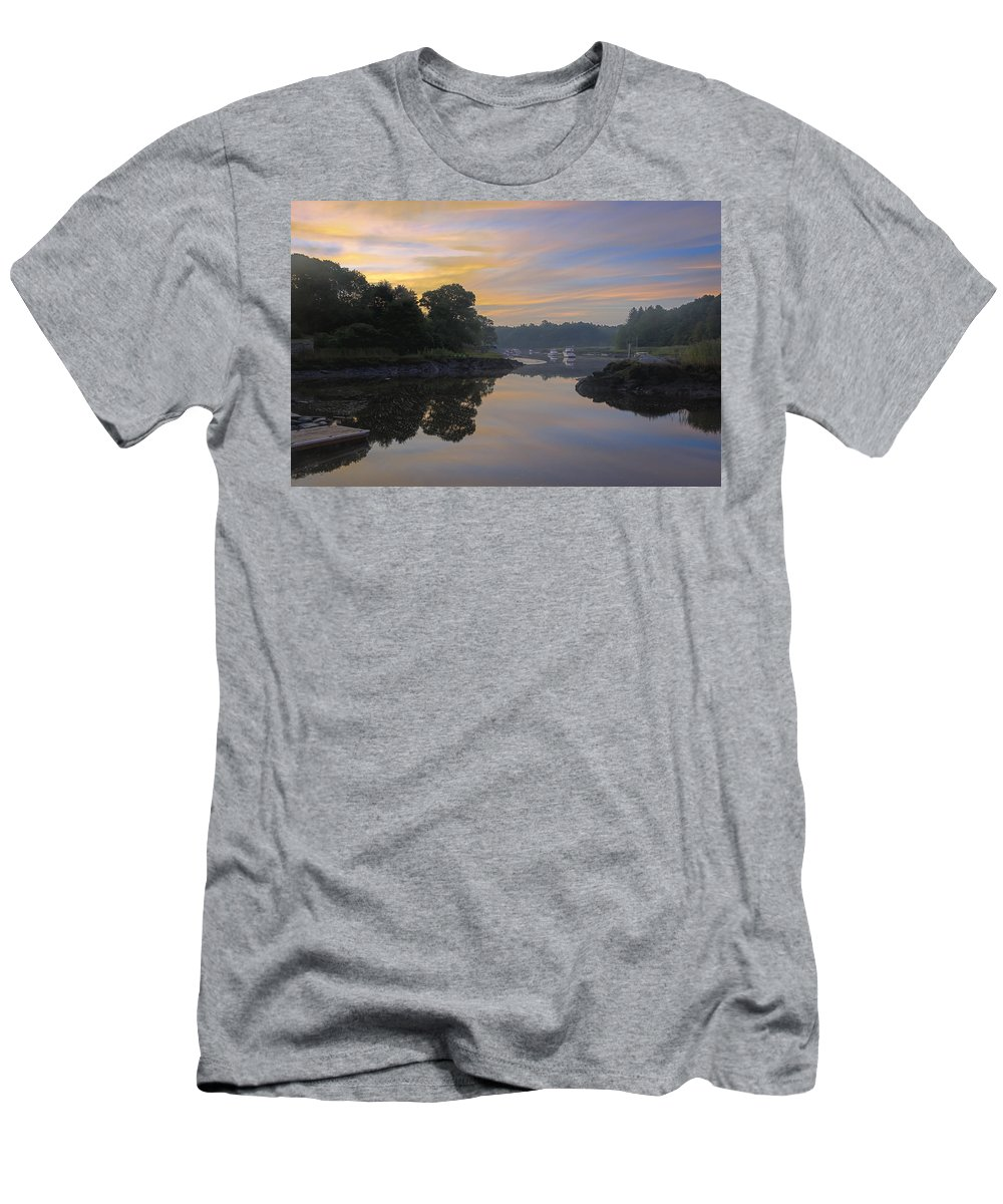 Sunrise Men's T-Shirt (Athletic Fit) featuring the photograph Hazy Summer Sunrise by David Stone