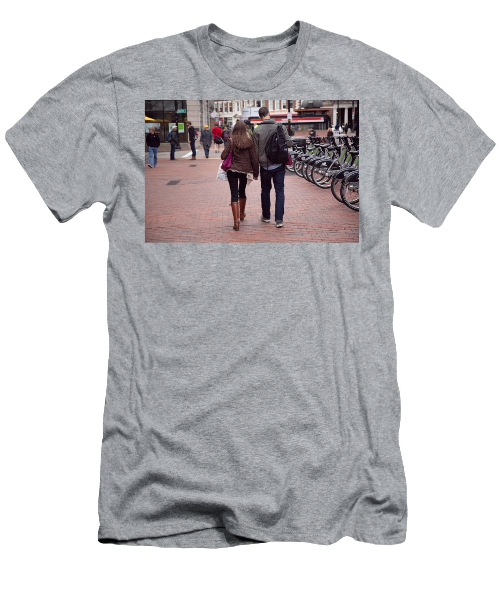 Harvard Station Men's T-Shirt (Athletic Fit) featuring the photograph Heading To The Station by Allan Morrison