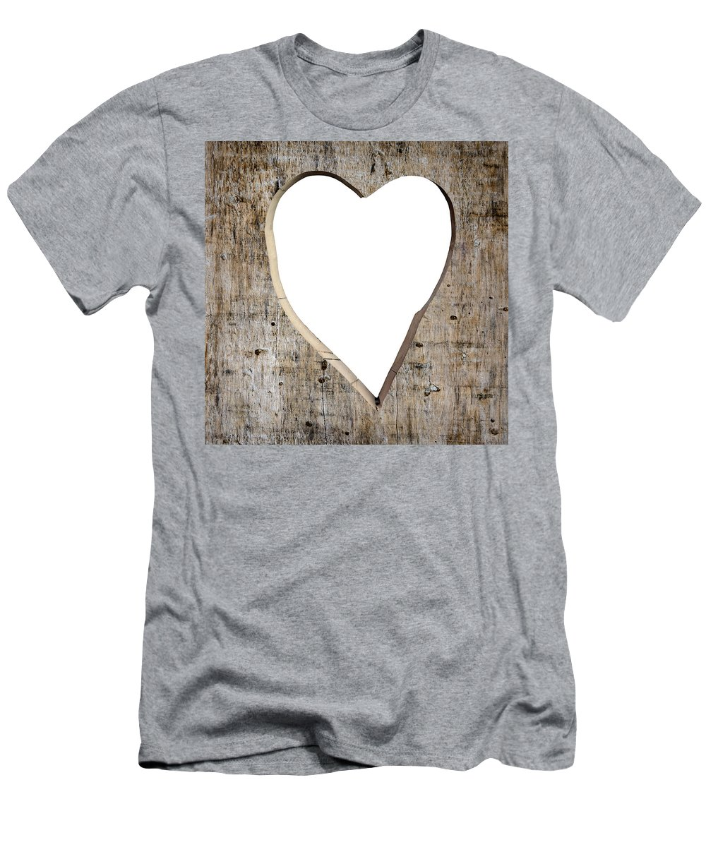 Love Men's T-Shirt (Athletic Fit) featuring the photograph Heart Shape Carved Into A Plank by Dutourdumonde Photography