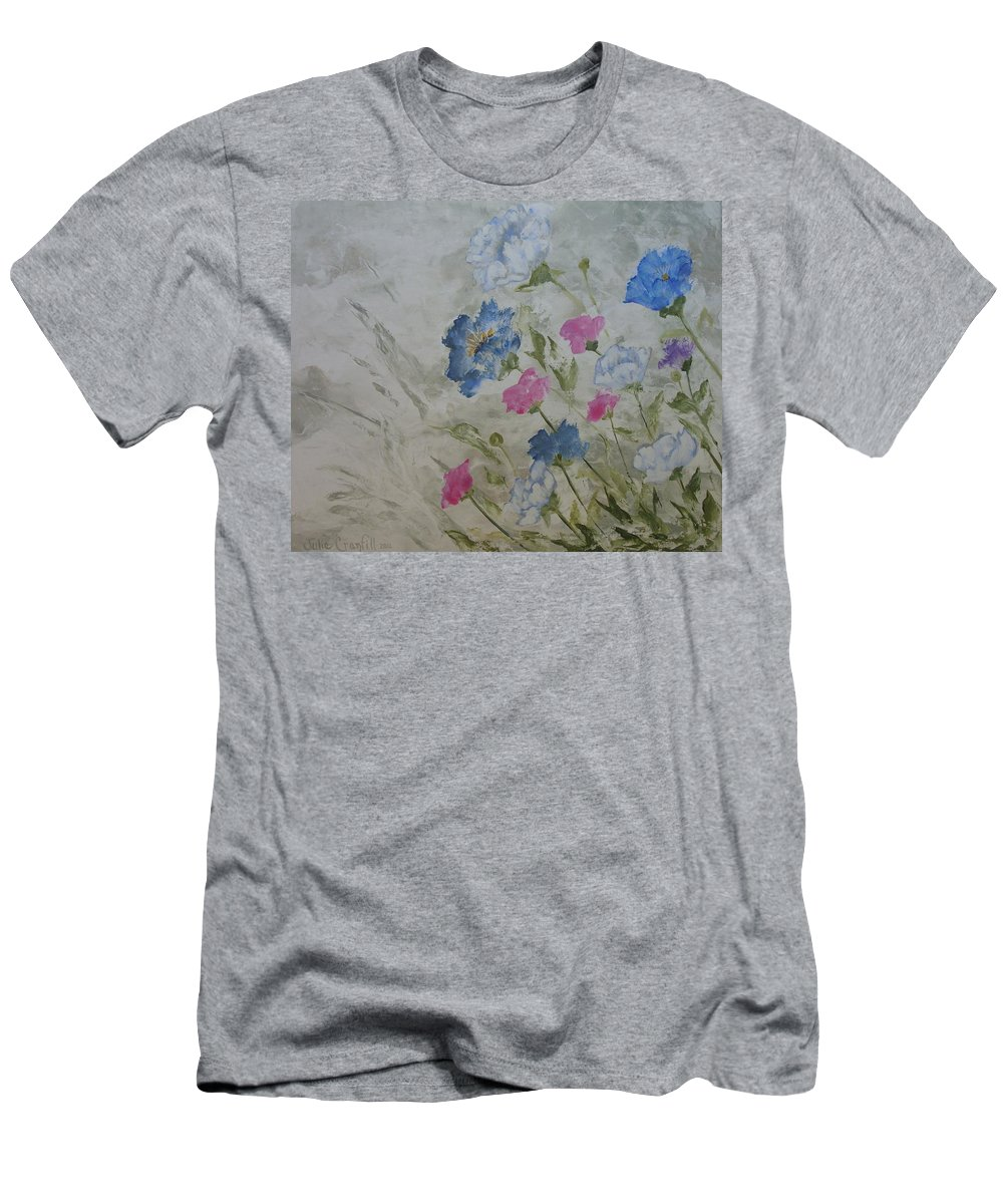 Textured In Color Men's T-Shirt (Athletic Fit) featuring the painting Heaven And Earth A by Julie Cranfill
