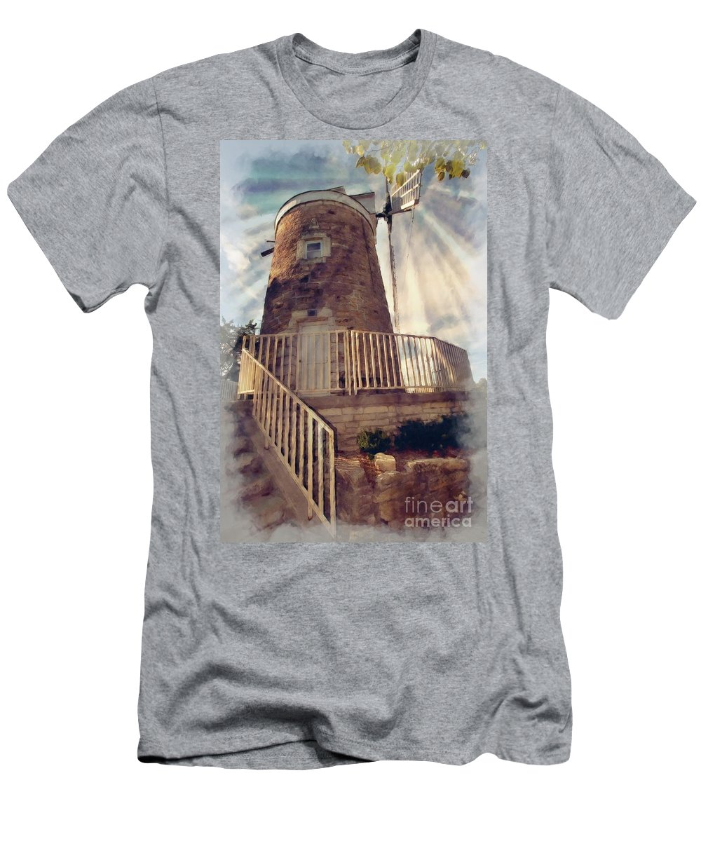 Mill Men's T-Shirt (Athletic Fit) featuring the photograph Historic Schonhoff Dutch Mill by Liane Wright