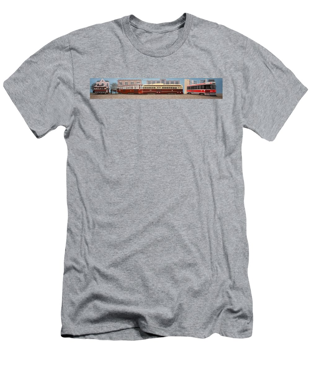 Streetscapes Men's T-Shirt (Athletic Fit) featuring the painting History Of The Toronto Streetcar by Kenneth M Kirsch