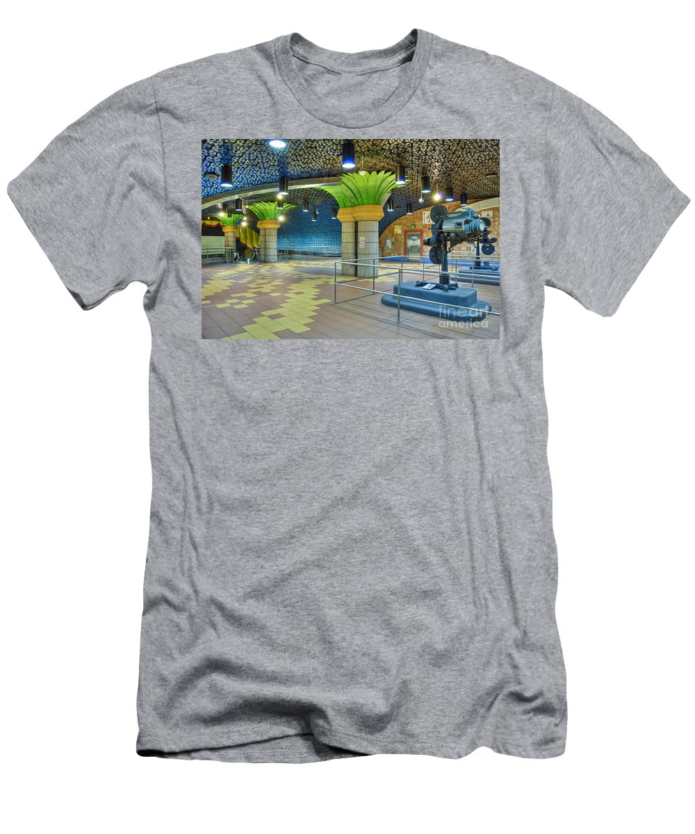 Metro Subway Station Interior Hollywood Ca Film Reels Lining The Ceiling Hollywood Film Projectors Men's T-Shirt (Athletic Fit) featuring the photograph Hollywood Los Angeles Ca by David Zanzinger