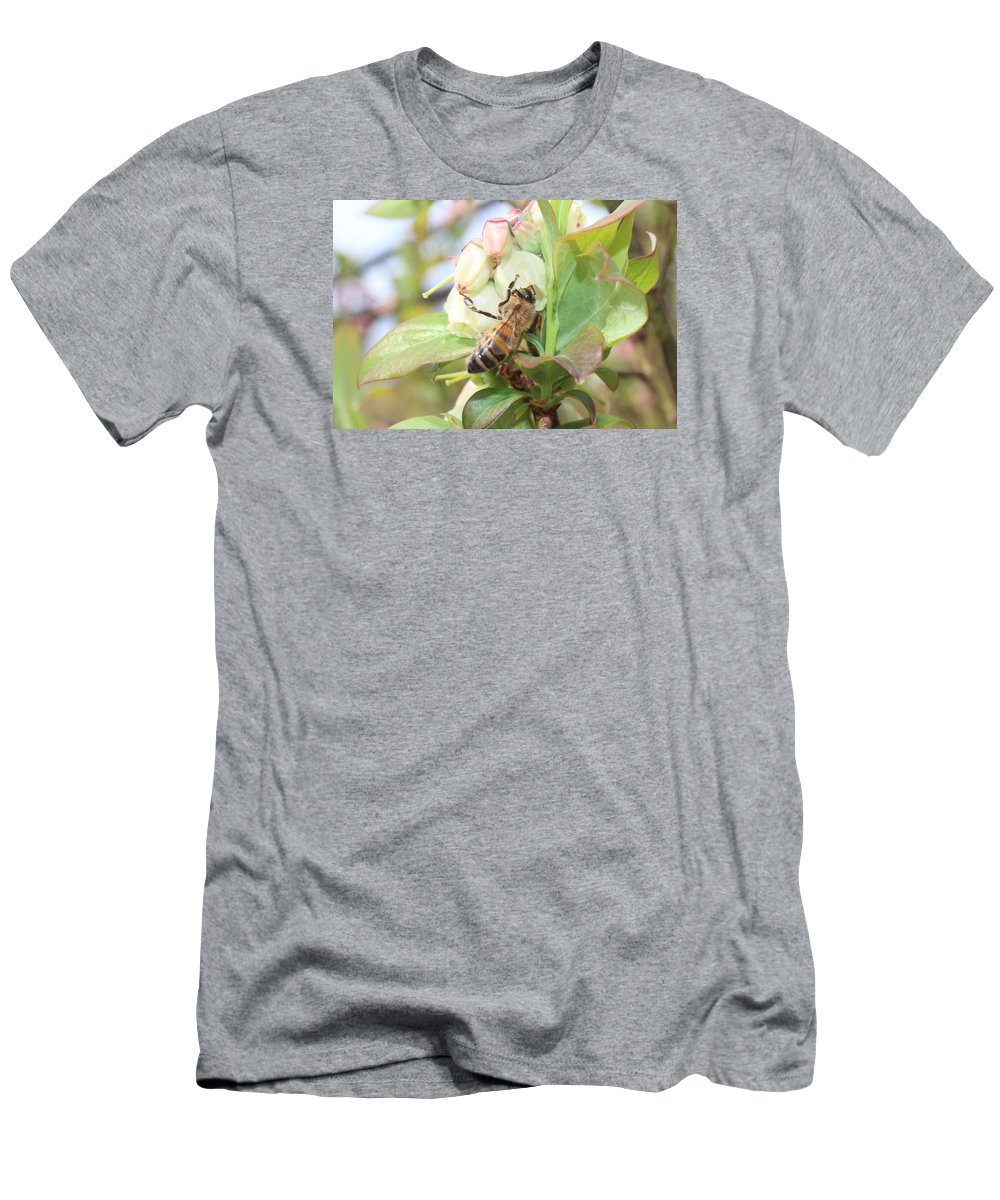 Honeybee Men's T-Shirt (Athletic Fit) featuring the photograph Honeybee In Blueberry Blossoms by Lucinda VanVleck