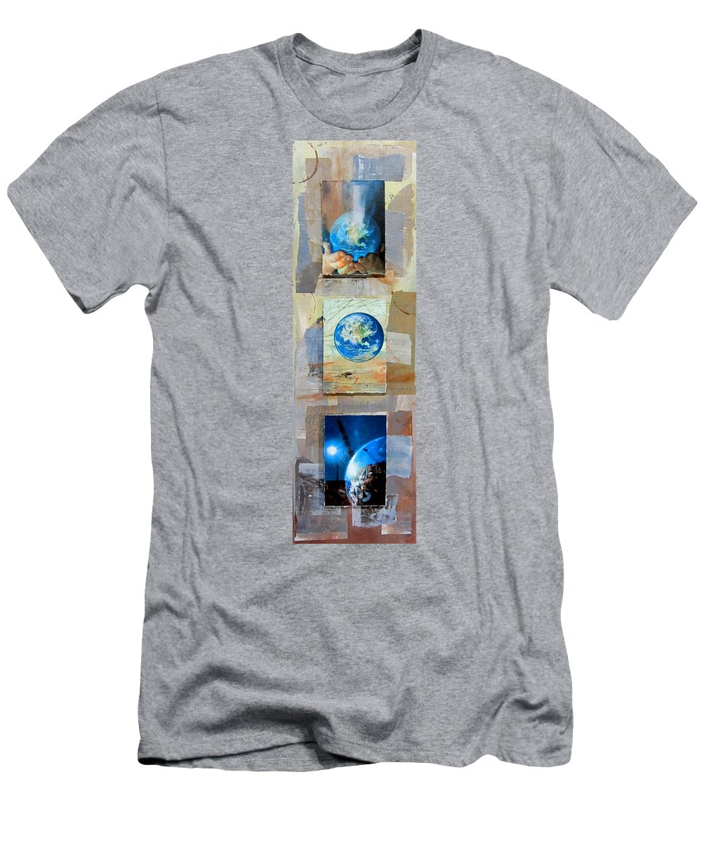 World Men's T-Shirt (Athletic Fit) featuring the mixed media Hope For Humanity by Anita Burgermeister