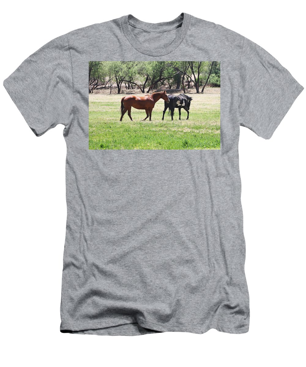 Horses Out Wickenburg Way Men's T-Shirt (Athletic Fit) featuring the photograph Horses Out Wickenburg Way by Tom Janca