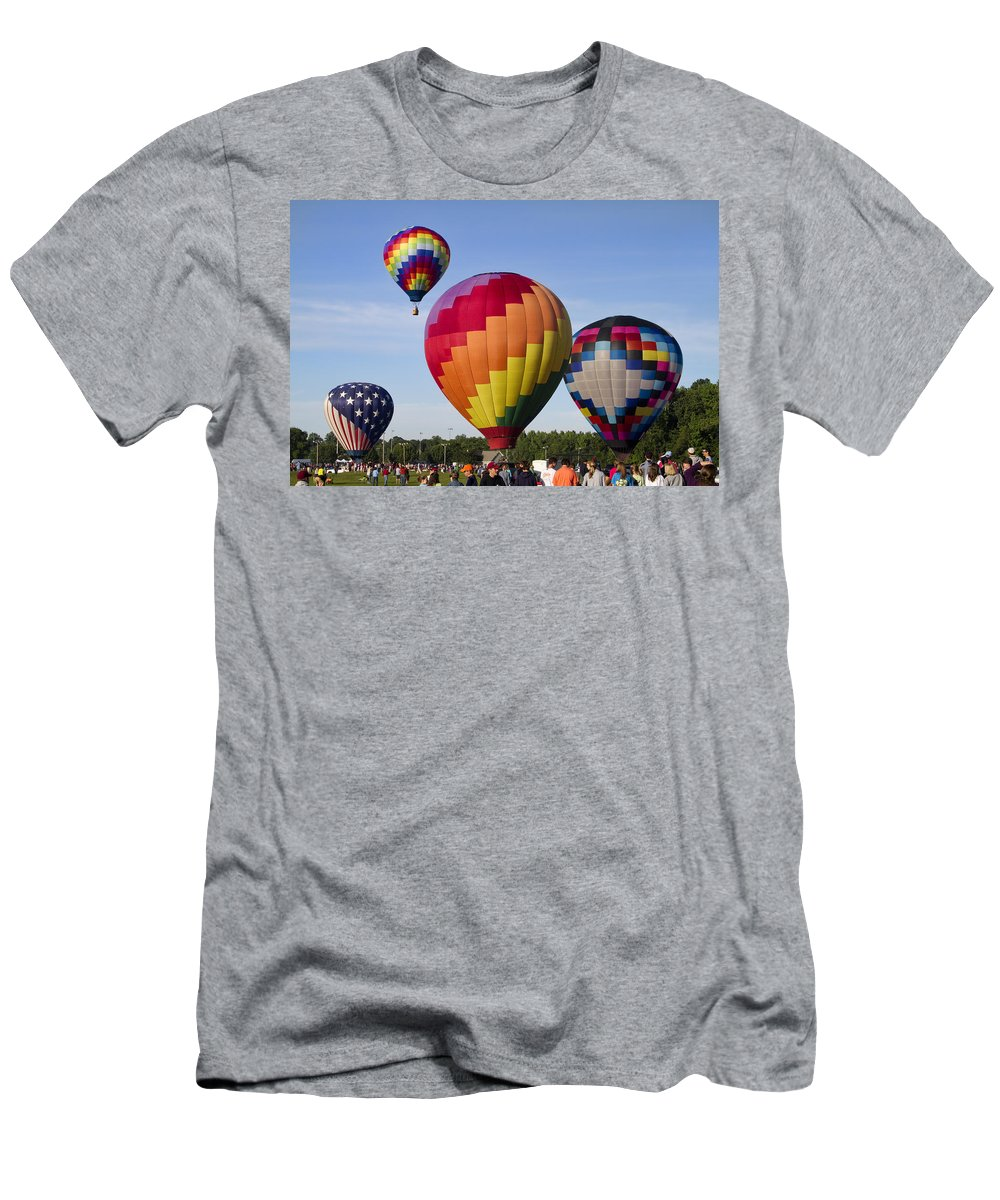 Hot Air Balloons Men's T-Shirt (Athletic Fit) featuring the photograph Hot Air Balloon Festival In Decatur Alabama by Kathy Clark