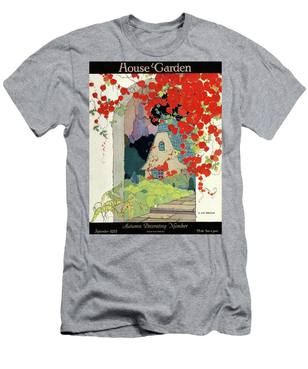 House And Garden Men's T-Shirt (Athletic Fit) featuring the photograph House And Garden Autumn Decorating Number by H. George Brandt
