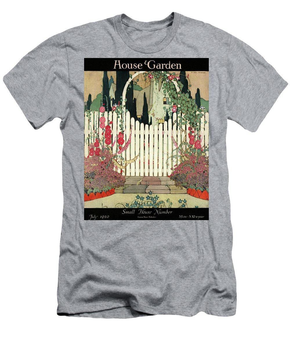 House And Garden Men's T-Shirt (Athletic Fit) featuring the photograph House And Garden Small House Number by H. George Brandt