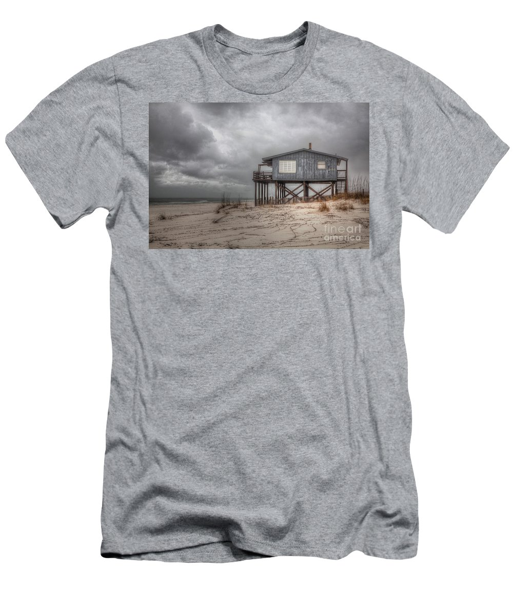 2014 Men's T-Shirt (Athletic Fit) featuring the photograph House On The Beach by Larry Braun