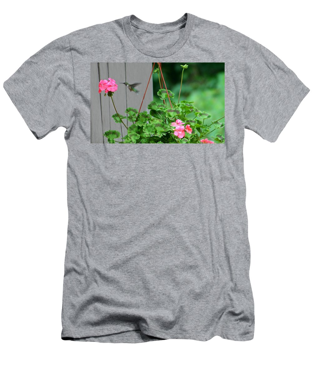 Macro Men's T-Shirt (Athletic Fit) featuring the photograph Hovering by Barbara S Nickerson