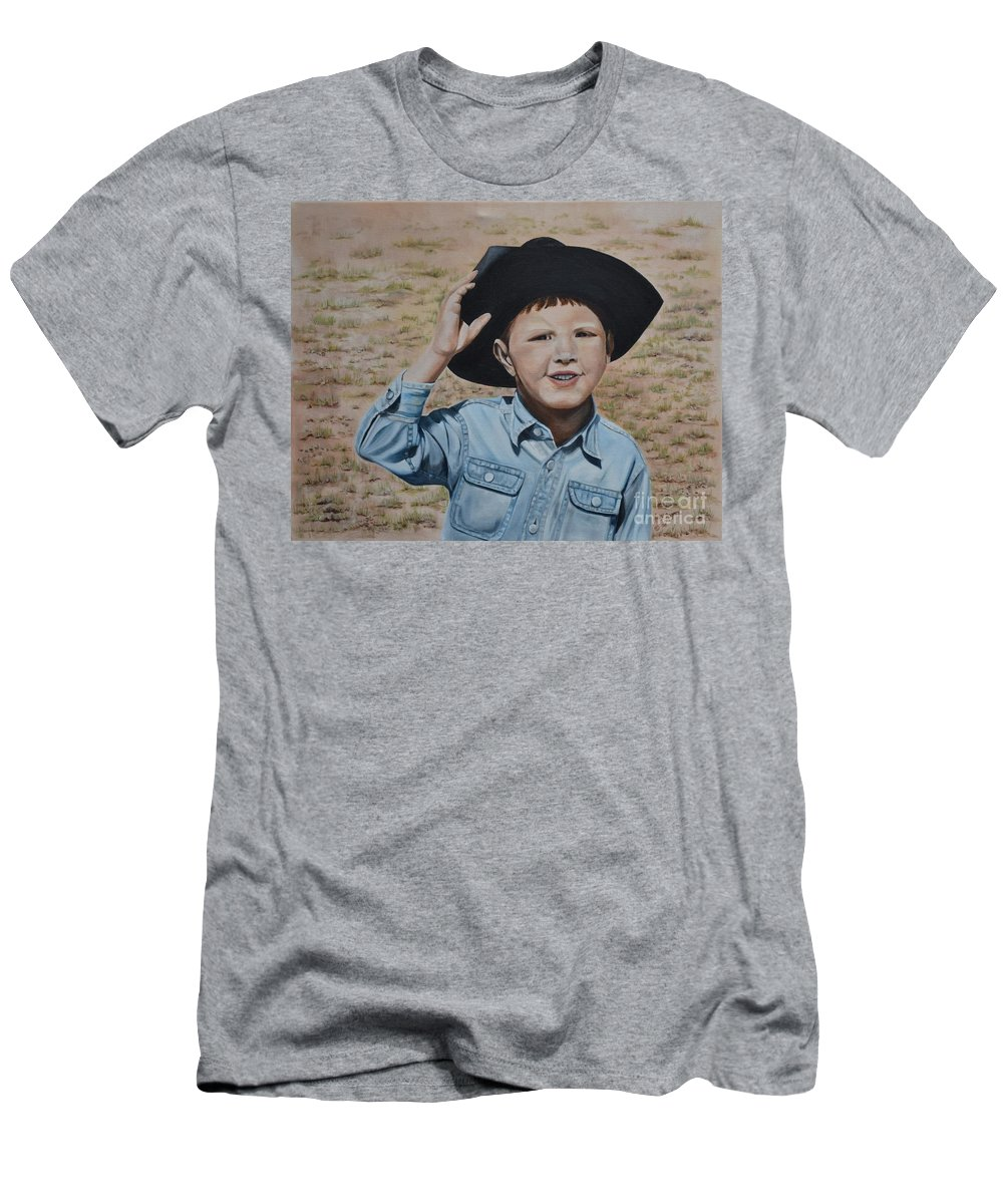 Usa Men's T-Shirt (Athletic Fit) featuring the painting Howdy Ma'am by Mary Rogers