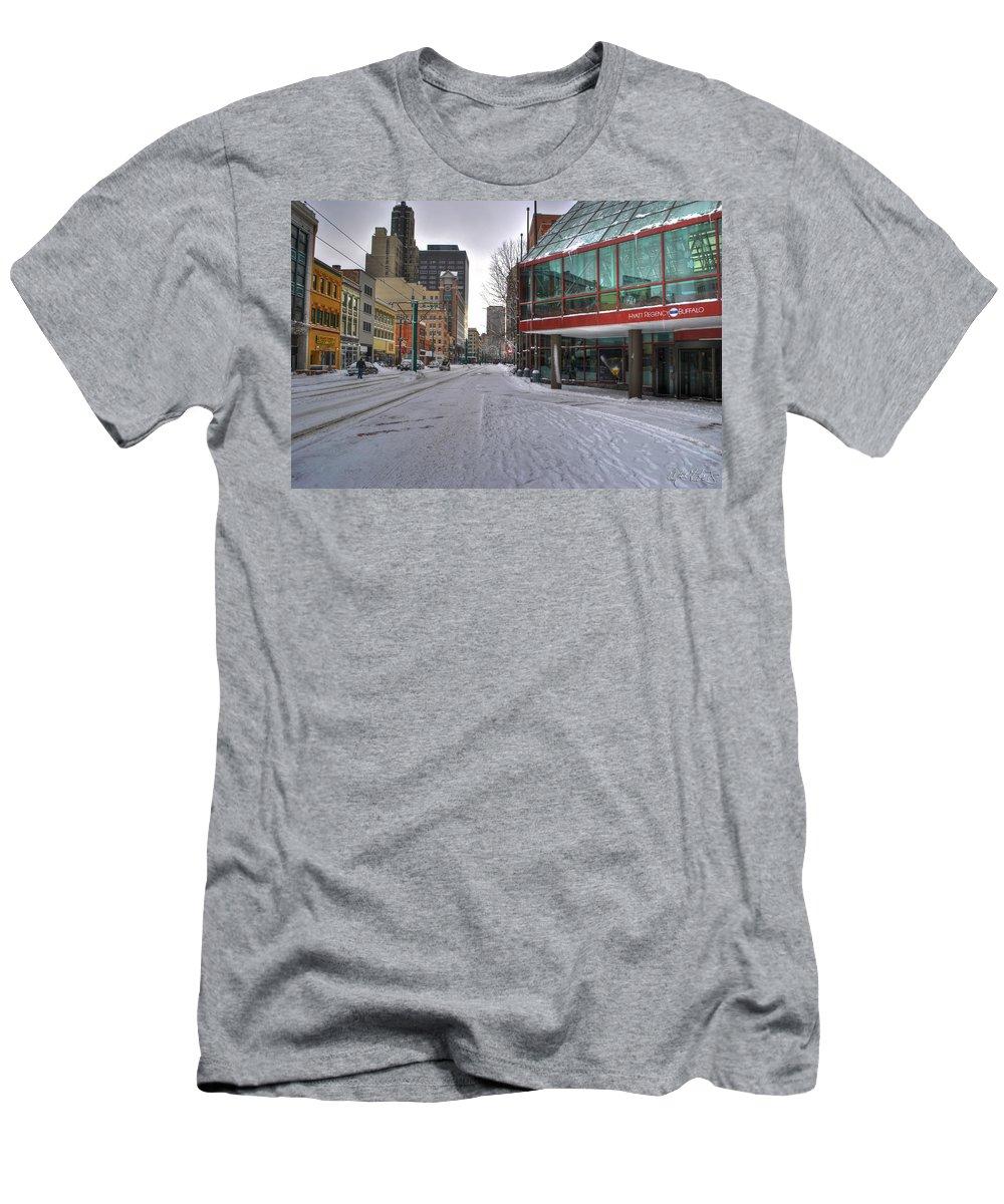 Hyatt Regency Buffalo Men's T-Shirt (Athletic Fit) featuring the photograph Hyatt Regency Buffalo V2 by Michael Frank Jr