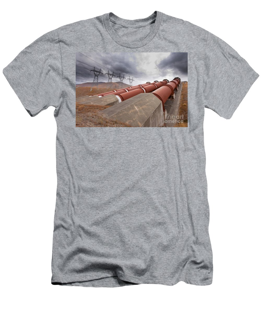 Alternative Men's T-Shirt (Athletic Fit) featuring the photograph Hydroelectric Plant In Renewable Energy Concept by Stephan Pietzko