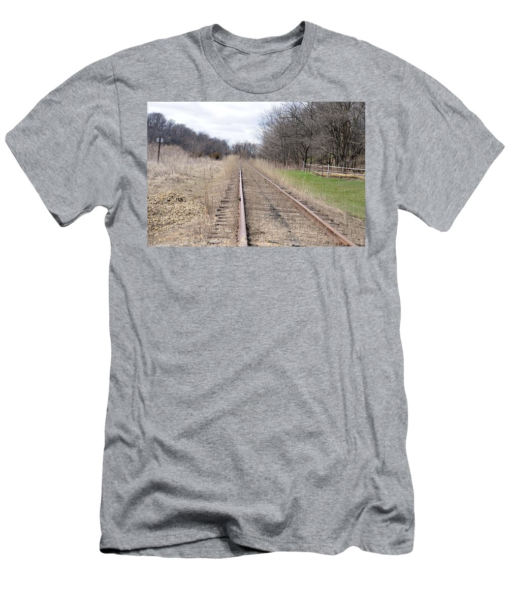 Train Tracks Men's T-Shirt (Athletic Fit) featuring the photograph I Walk The Line by Bonfire Photography
