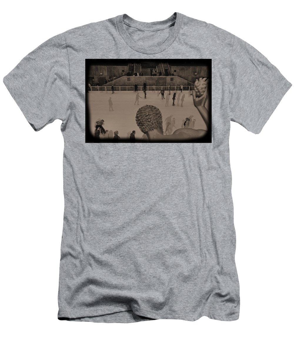 Ice Skating At Rockefeller Center In The Early Days Men's T-Shirt (Athletic Fit) featuring the photograph Ice Skating At Rockefeller Center In The Early Days by Dan Sproul