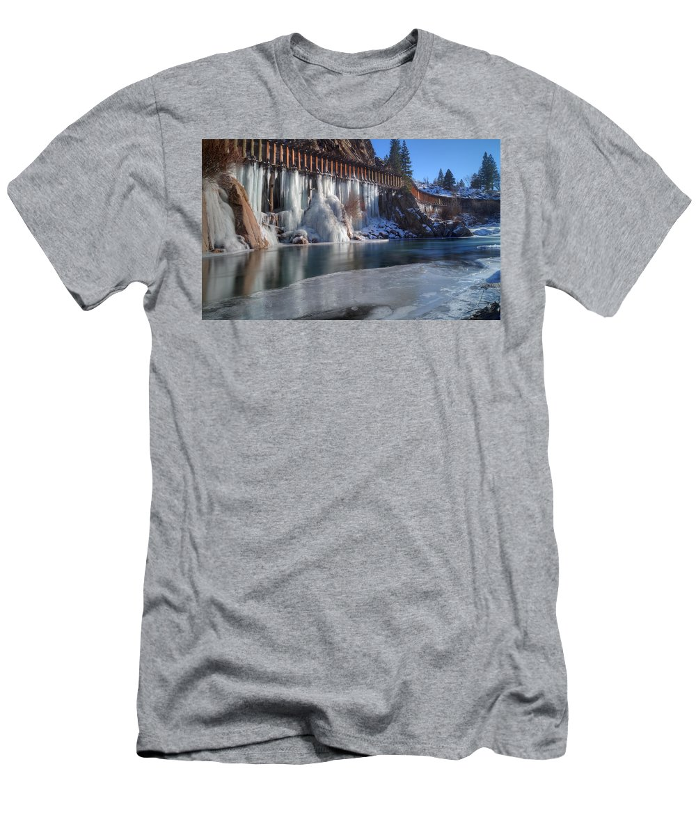 Icicles Men's T-Shirt (Athletic Fit) featuring the photograph Icicles by Dianne Phelps