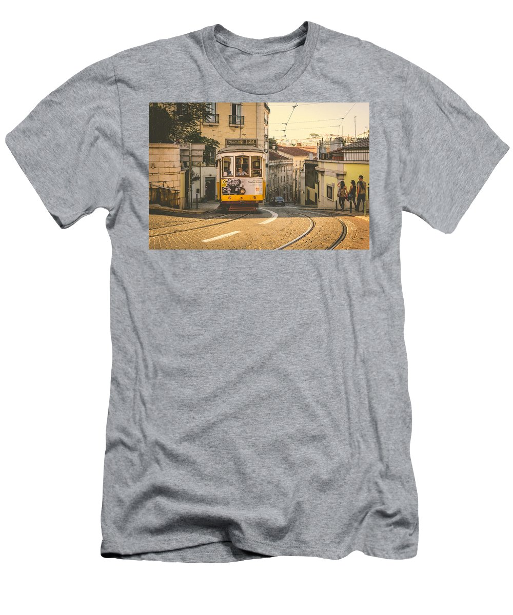Streetcar Men's T-Shirt (Athletic Fit) featuring the photograph Iconic Lisbon Streetcar No. 28 Iv by Marco Oliveira