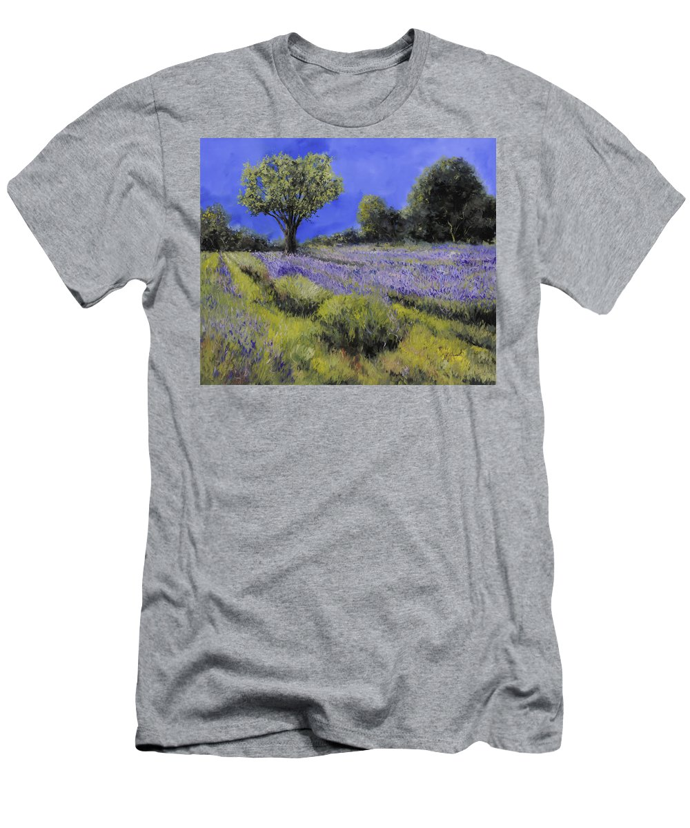 Lavender Men's T-Shirt (Athletic Fit) featuring the painting Il Campo Di Lavanda by Guido Borelli