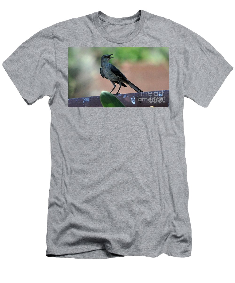Birds Men's T-Shirt (Athletic Fit) featuring the photograph I'm Not Cleaning That Mess 1 by Jay Milo